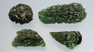Real Moldavite samples - most are less than 100 grams